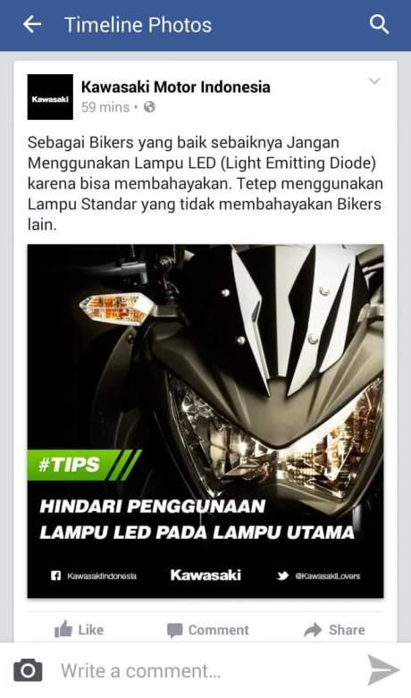 kawasaki larang penggunaan lampu LED
