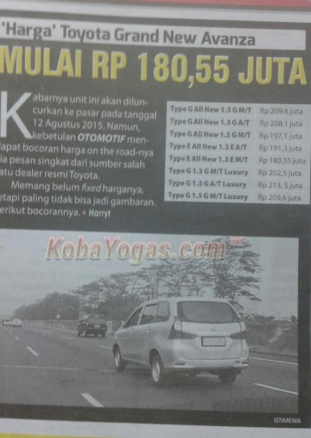 Ini Dia Daftar Harga All Varian Toyota Grand New Avanza