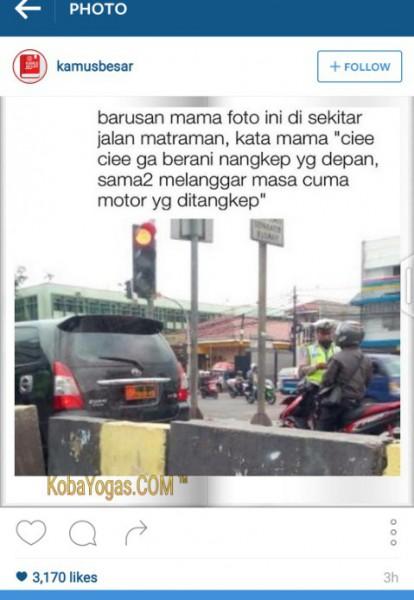 polisi biarkan mobil plat militer lewat kobayogas